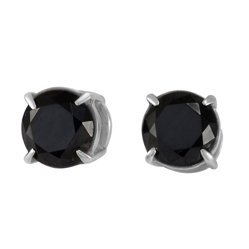 Prong Setting- Handmade Jewelry Manufacturer 9 mm Round Black Onyx- 925 Sterling Silver- Jaipur Rajasthan India Stud Earring