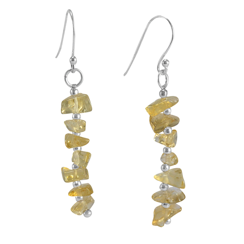 November Birthstone Handmade Jewelry Manufacturer Citrine 925 Silver Wire-Wrapped Chips Dangle Earring Jaipur Rajasthan India