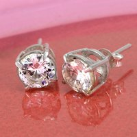 7mm White Cubic Zirconia, Handmade Jewelry Manufacturer 925 Silver, Prong Setting, Push Back Earring Jaipur Rajasthan India