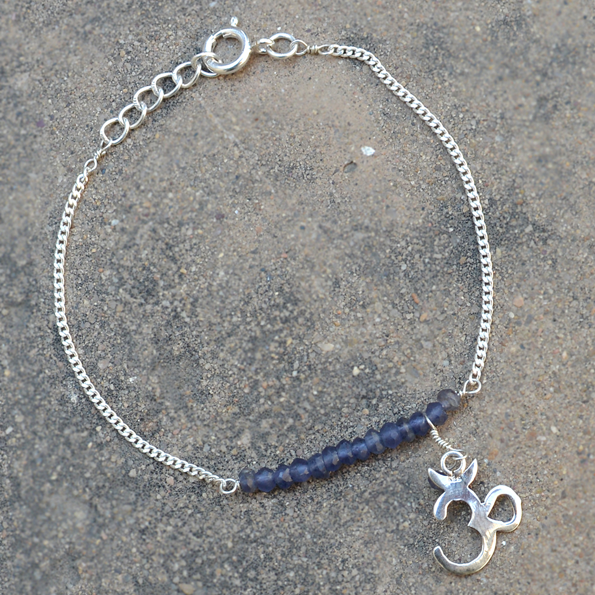 Handmade Jewelry Manufacturer 3mm Iolite Rondelle Beaded 925 Sterling Silver Curb-Chain Bracelet Jaipur Rajasthan India