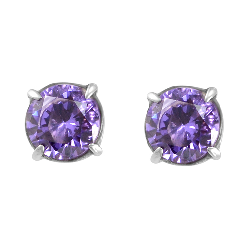 1 Pair, Prong Setting, Handmade Jewelry Manufacturer Lavender Cubic Zirconia, 925 Silver, Stud Earring Jaipur Rajasthan India