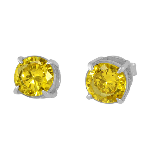 Handmade Jewelry Manufacturer 925 Silver, 8mm Round Yellow Cubic Zirconia, Jaipur Rajasthan India Prong Setting, Tiny Earring