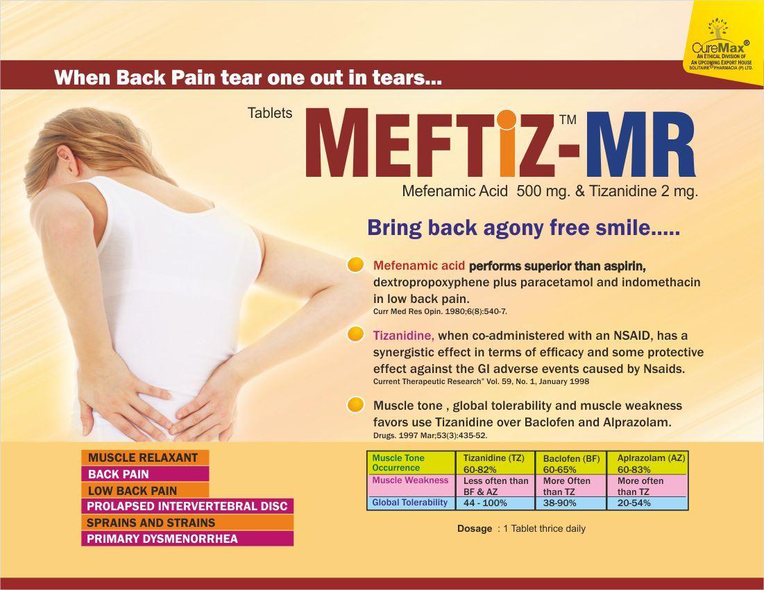 Mefenamic Acid 500 mg & Tizanidine 2 mg Tablets