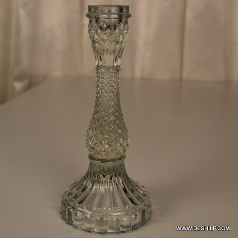 Antique Cutting Glass Pillar Candle Holder