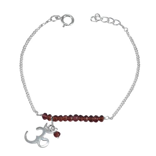 Handmade Jewelry Manufacturer Red Crystal- silver 925 bracelet- Curb-Chain- Jaipur Rajasthan India Spring-ring Hook Bracelet