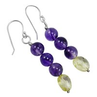 Handmade Jewelry Manufacturer Round Deep Purple Amethyst With Lemon Quartz 925 Sterling Silver Earring Jaipur Rajasthan India