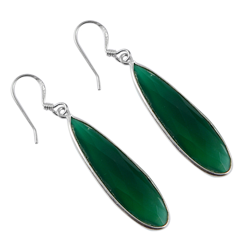 May Birthstone Handmade Jewelry Manufacturer Green Onyx 925 Sterling Silver Jaipur Rajasthan India Teardrop Earring