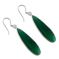 May Birthstone Handmade Jewelry Manufacturer Green Onyx 925 Sterling Silver Jaipur Rajasthan India Teardrop Earring