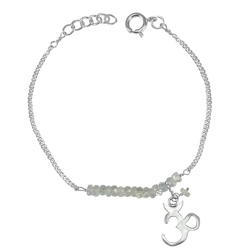 925 Silver Jaipur Rajasthan India Curb-Chain With Spring-ring hook, Beaded Crystal Handmade Jewelry Manufacturer Bracelet