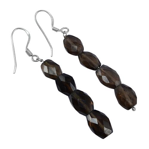 925 Sterling Silver- Handmade Jewelry Manufacturer Smoky Quartz- Fish-hook- Long Dangle Earring Jaipur Rajasthan India