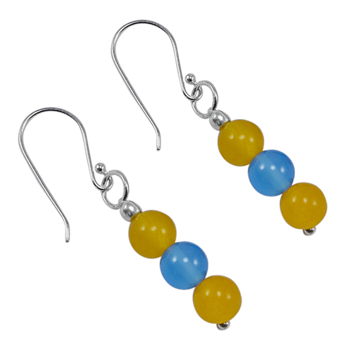 Jaipur Rajasthan India 6mm Round 3 Stone Set Yellow & Blue Quartz 925 Sterling Silver Earring Handmade Jewelry Manufacturer