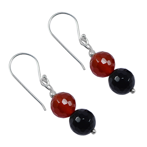 Jaipur Rajasthan India 8mm Round 2 Stone Set 925 Sterling Silver Awesome Small Dangle Earring Handmade Jewelry Manufacturer