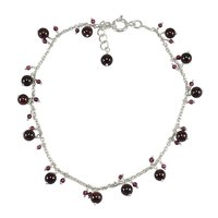 Handmade Jewelry Manufacturer 2-4mm Round Beaded Garnet 925 Sterling Silver Rolo-Chain Single Piece Anklet