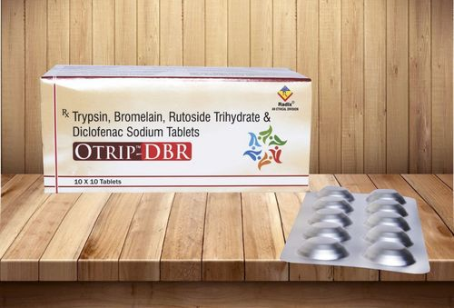 Trypsin 48 mg,Diclofenac Sodium 50 mg,Bromelain 90 mg & Rutoside 100 mg