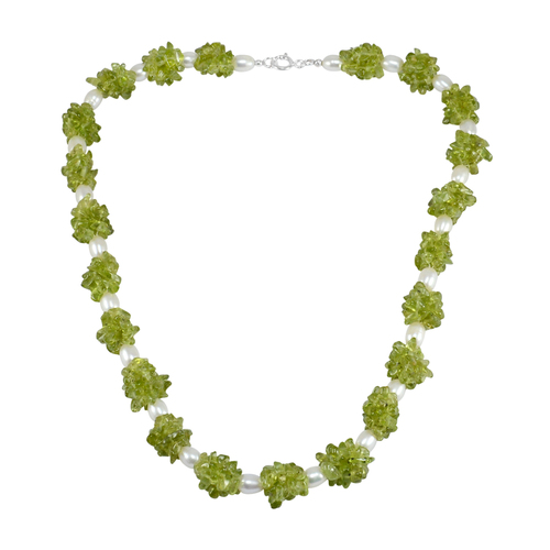 Uncut Peridot & Pearl Jaipur Rajasthan India 925 Sterling Silver Handmade Jewelry Manufacturer Spring-Ring Hook Necklace