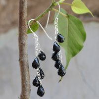 Black Onyx Teardrop, Handmade Jewelry Manufacturer Faceted Cut, 925 Sterling Silver Jaipur Rajasthan India Chain Earring