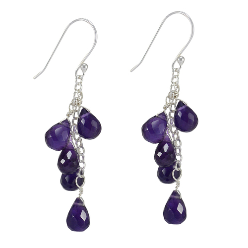 February Birthstone Handmade Jewelry Manufacturer Amethyst- Teardrop- 925 Silver- Jaipur Rajasthan India Faceted Chain Earring
