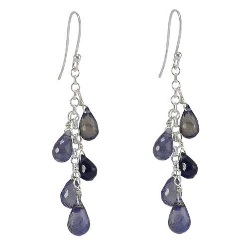 Blue Iolite Teardrop Handmade Jewelry Manufacturer Faceted, 925 Sterling Silver, Briolette Jaipur Rajasthan India Drop Earring
