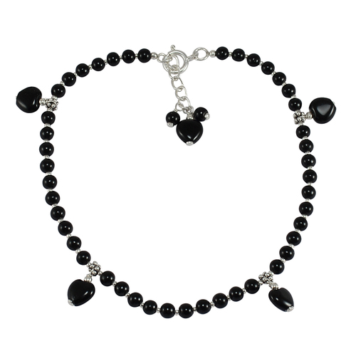 Round Beaded & Heart Shape Handmade Jewelry Manufacturer Black Onyx, 925 Sterling Silver, Jaipur Rajasthan India Single Anklet