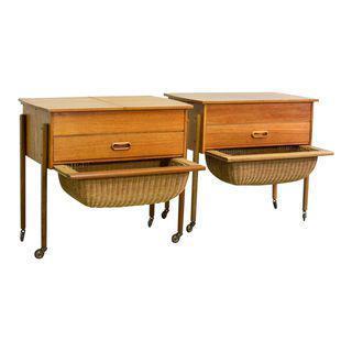 SCANDINAVIAN MODERN TEAKWOOD SEWING SIDE TABLES, BEDSIDE TABLE INSPIRED AFTER DANISH DESIGNER HANS WEGNER, 1960S