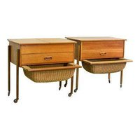 SCANDINAVIAN MODERN TEAKWOOD SEWING SIDE TABLES, BEDSIDE TABLE INSPIRED AFTER DANISH DESIGNER HANS WEGNER, 1960S