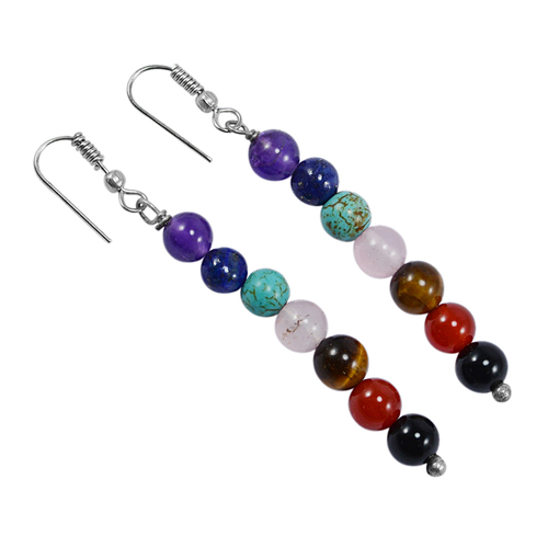 Amethyst, Lapis Lazuli, Turquoise, Rose Quartz, Tiger Eye, Carnelian & Black Onyx 925 Silver 7 Chakra Earring
