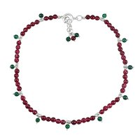 Beaded 3mm, Pink & Green Quartz Handmade Jewelry Manufacturer- 925 Sterling Silver- Single Piece Anklet Jaipur Rajasthan India