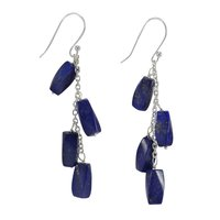 Handmade Manufacturer Lapis Lazuli, 1 Pair 925 Silver Line Threader Dangle Earring With Rolo Chain Jaipur Rajasthan India