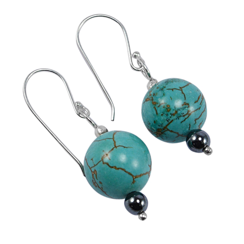 12mm Turquoise, Handmade Jewelry Manufacturer 4mm Hematite 925 Sterling Silver Jaipur Rajasthan India Dangle Earring