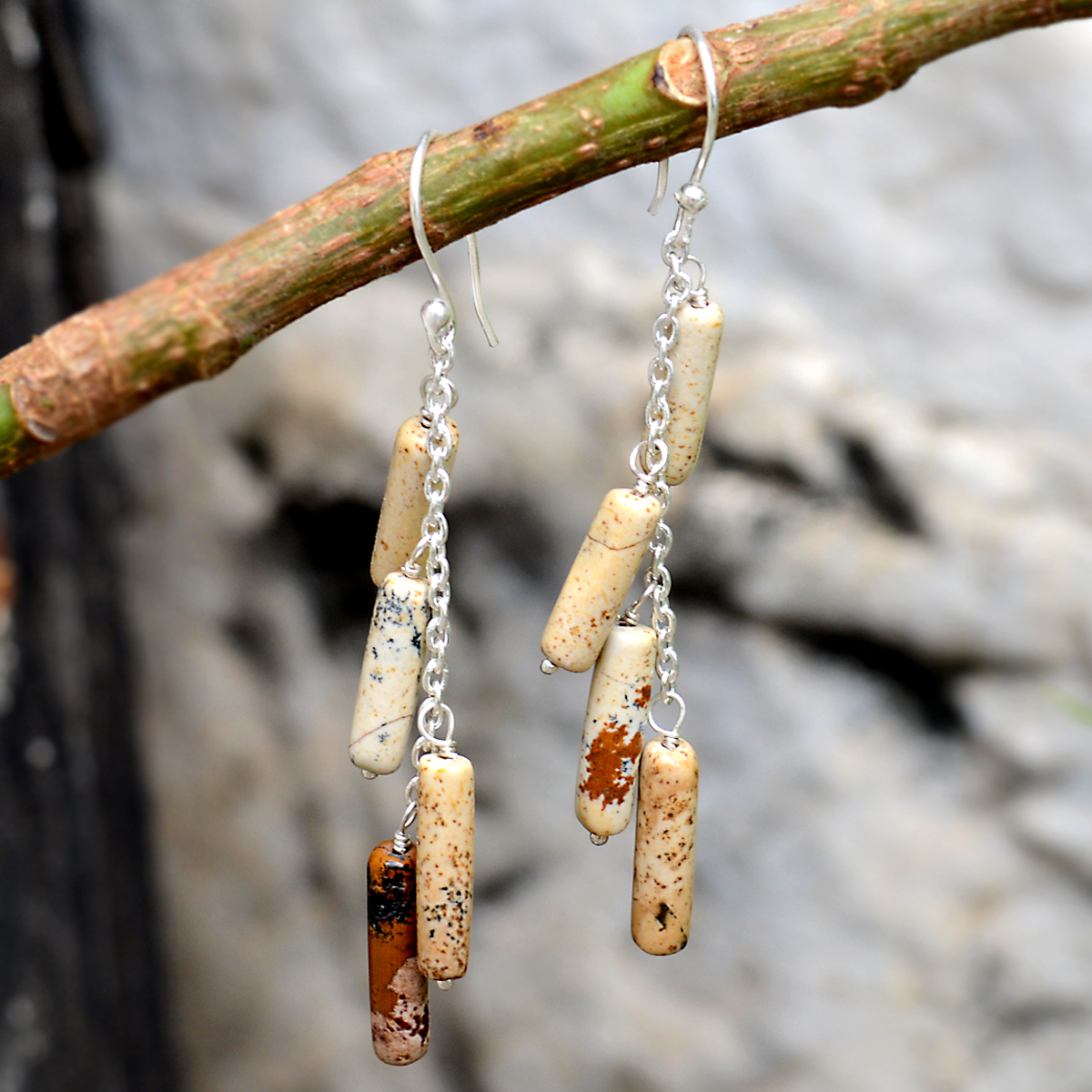 Brown Picture Jasper- Handmade Manufacturer 925 Silver- Wire Wrapped- Rolo Chain- Jaipur Rajasthan India Dangle Earring