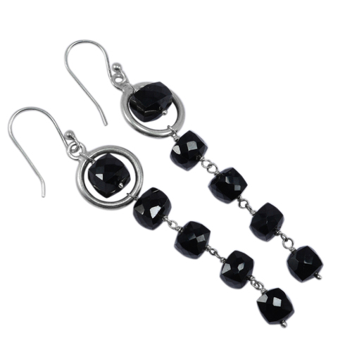 925 Sterling Silver- Handmade Jewelry Manufacturer 6x5mm Black Onyx- Layering Stone- Jaipur Rajasthan India Fish-hook Dangle Earring