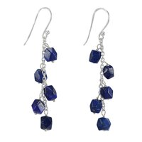 Lapis Lazuli, Handmade Jewelry Manufacturer Faceted, 925 Sterling Silver- Rolo Chain Jaipur Rajasthan India Dangle Earring