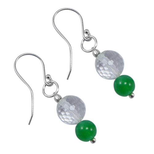 6-8mm Handmade Jewelry Manufacturer Round Shape Green & Crystal Quartz 925 Sterling Silver Jaipur Rajasthan India Dangle Earring