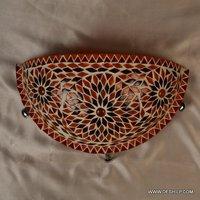Orange Mosaic Glass Wall Uplighter