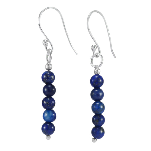 Beautiful Blue Lapis Lazuli Handmade Manufacturer September Birthstone 5 Beads With Jaipur Rajasthan India 925 Silver Earring