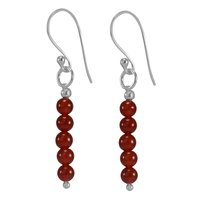 3mm Carnelian Round Beaded, Handmade Jewelry Manufacturer 925 Sterling Silver Wire Wrapped Jaipur Rajasthan India Dangle Earring