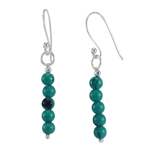 4mm Turquoise Beaded Handmade Jewelry Manufacturer 5 Stone Set, 925 Sterling Silver Jaipur Rajasthan India Simple Dangle Earring