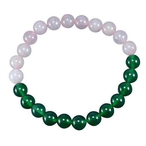 2 Color Tone, Jaipur Rajasthan India Round Beaded Rose & Green Quartz, Handmade Jewelry Manufacturer Stretchable Bracelet