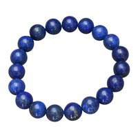 10mm Round Jaipur Rajasthan India Beaded Lapis Lazuli Stretchable Healing Handmade Jewelry Manufacturer Yoga Bracelet