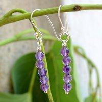 Beaded Purple 5 Stone Set Handmade Jewelry Manufacturer Amethyst, 925 Sterling Silver Dangle Earring Jaipur Rajasthan India