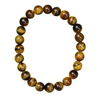 8mm Round Beaded Jaipur Rajasthan India Brown Tiger Eye Stretchable Handmade Jewelry Manufacturer Meditation Bracelet