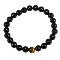 Round Beaded Handmade Jewelry Manufacturer Tiger Eye & Black Onyx Stretchable Reiki Jaipur Rajasthan India Healing Bracelet