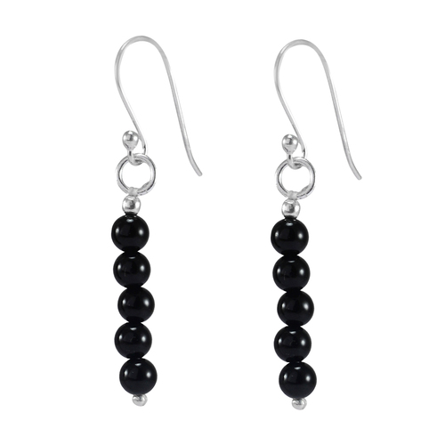 Black Onyx/ 925 Sterling Silver/Handmade Jewelry Manufacturer 5 Bead Round Beaded/ Dangle Jaipur Rajasthan India Long Earring