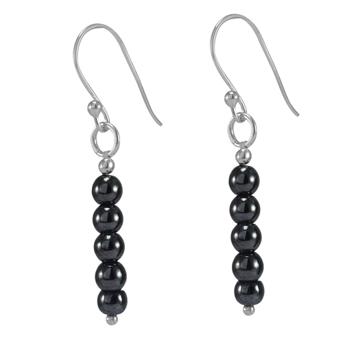 Handmade Jewelry Manufacturer 5 Beaded Stone, Cabochon Cut, Black Hematite, Jaipur Rajasthan India 925 Sterling Silver Earring