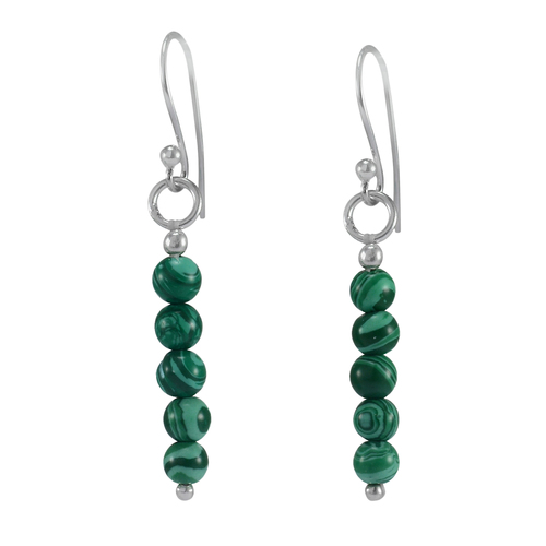 4mmRound Beaded Handmade Jewelry Manufacturer 925 Sterling Silver- Malachite- Wire-wrapped Dangle Earring Jaipur Rajasthan India