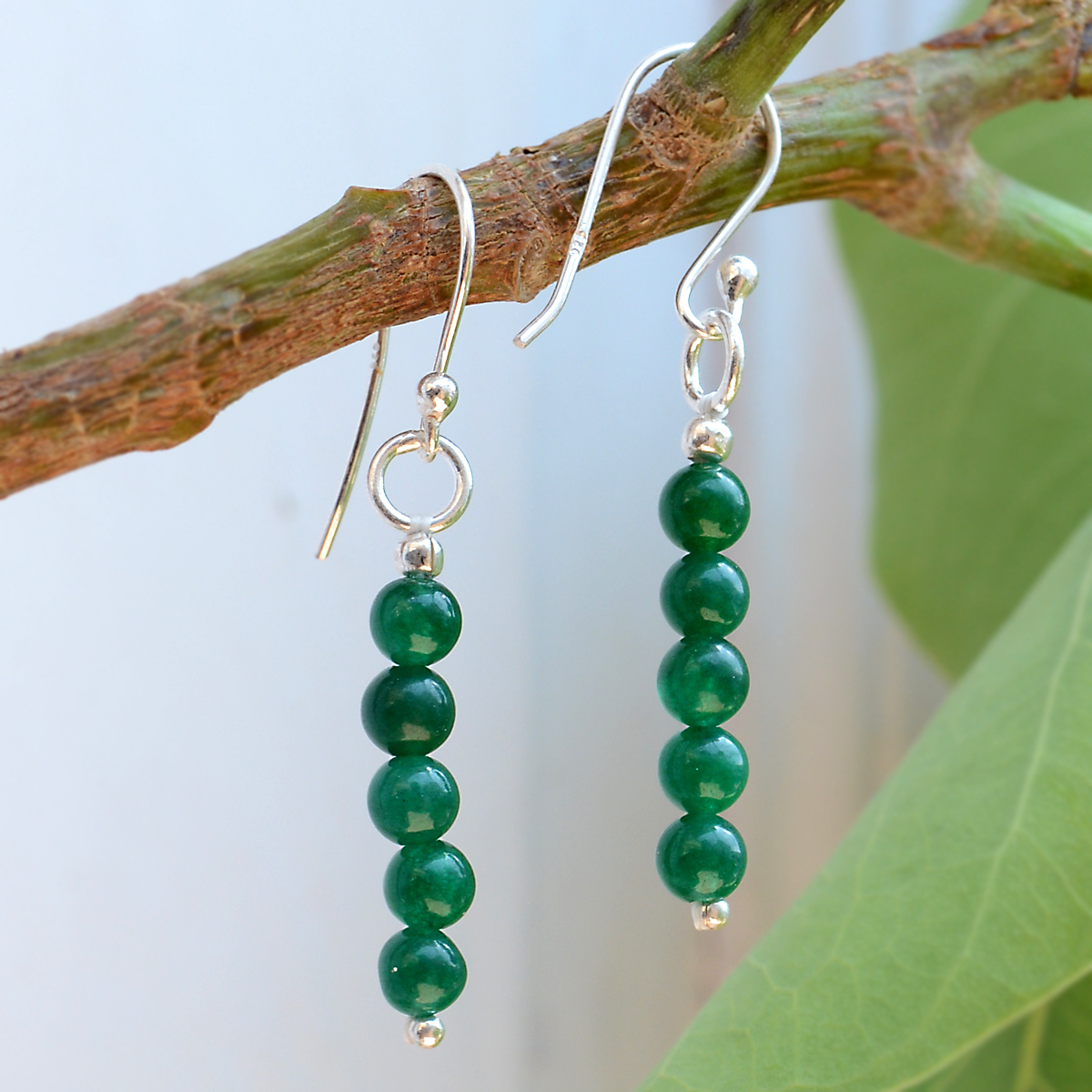 5 Beaded Set- Round Malachite- Handmade Jewelry Manufacturer 925 Sterling Silver- Celtic Dangle Earring Jaipur Rajasthan India