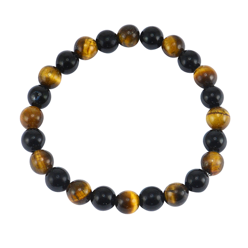Round Beaded Handmade Jewelry Manufacturer Tiger Eye & Black Onyx Stretchable Jaipur Rajasthan India Healing Bracelet