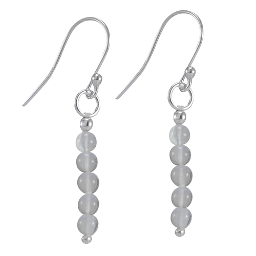 White Crystal Quartz, Round Handmade Manufacturer Protection Bead Dangles, 925 silver Dainty Earring Jaipur Rajasthan India