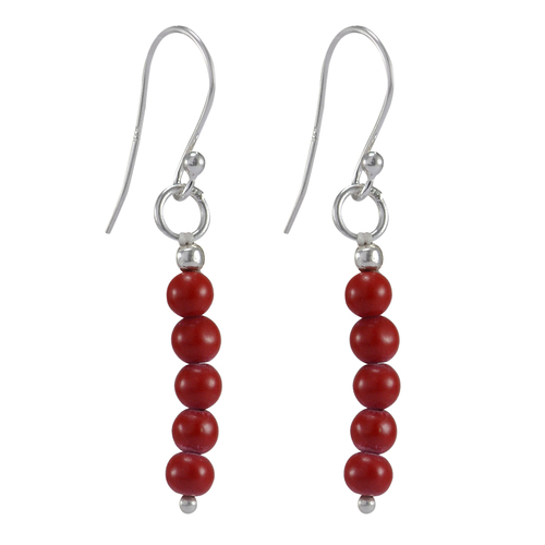Wire-wrapped- 925 Sterling Silver- Handmade Jewelry Manufacturer 5 Stone Beaded Red coral Jaipur Rajasthan India Dangle Earring