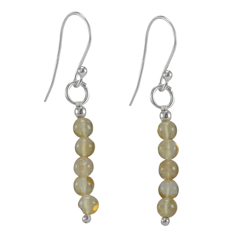 4mm Beaded Yellow Citrine, Handmade Jewelry Manufacturer 925 Sterling Silver, Jaipur Rajasthan India Energy Dangle Earring